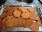 Sweet potato chips about to go in the oven to bake. YUM