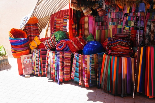 The lush colors of the textiles of Marrakesh. Eye candy at every turn.