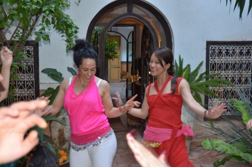 Bellydancing with my friend Lusann in a riad. Zumba comes in handy...