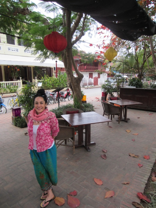 At one of the billion outdoor cafes in Luang Prabang. Dinner was often by lantern light and the nights are warm.